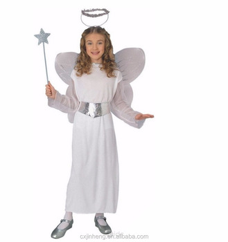 Kids Beautiful White Angel Dress Costumes with Halo&Wings Girls Cainival Party Good Luck Bringer Cosplay Fancy Dress