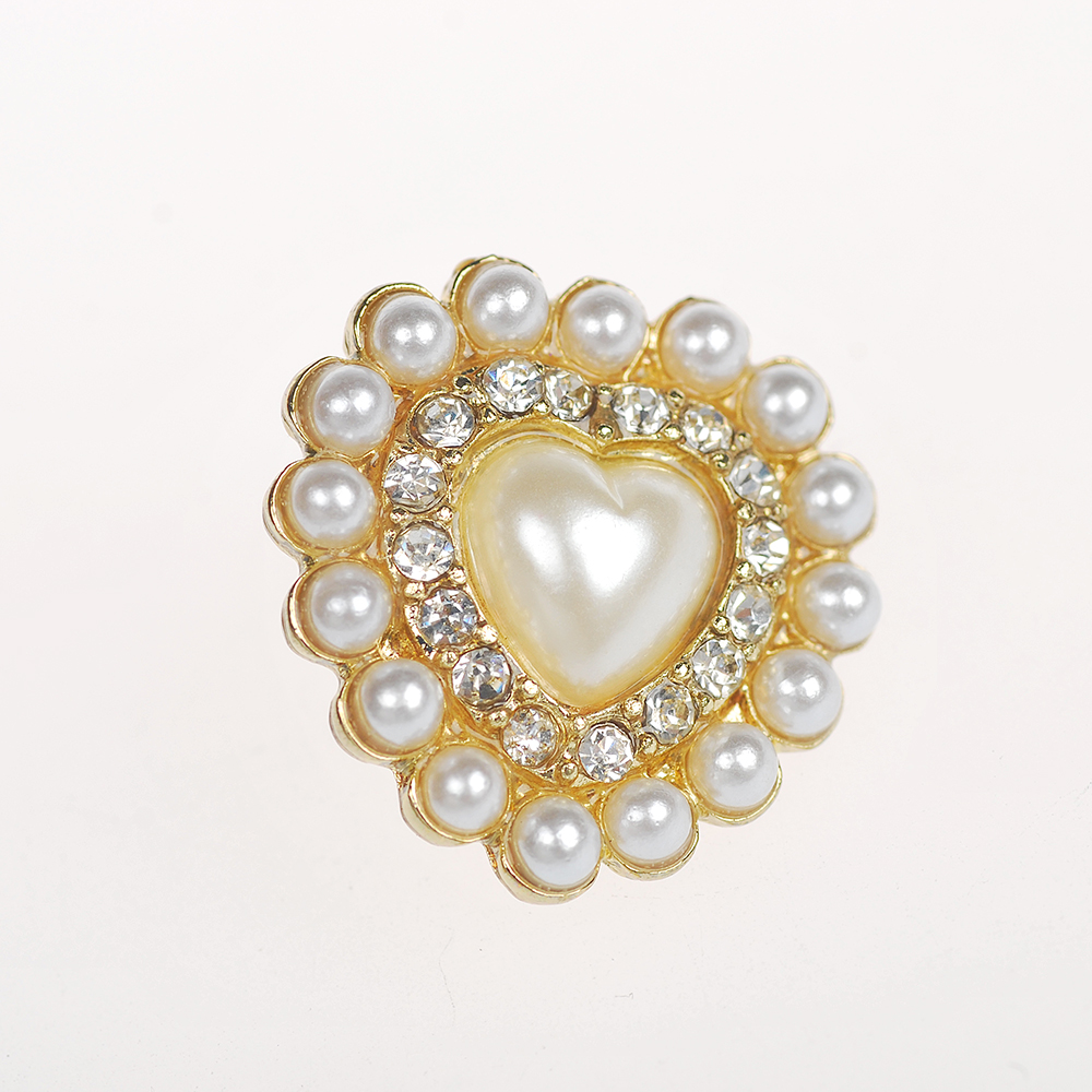 2016 fashion heart shape pearl and crystal gold stud earring for women