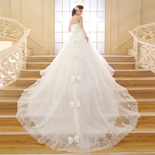 HS1623 2017 Lace Strapless Wedding Dress With Long Train Bridal Ball Gown
