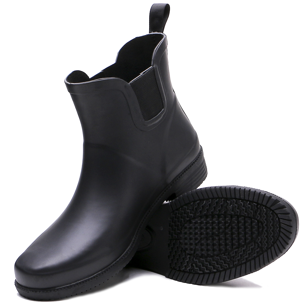 Tongpu 2017 new hot selling Rubber Women black Ankle rain boots