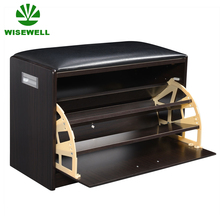 WYJ-002 wooden shoe storage bench with cushioned seat