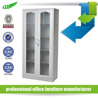 Easy assembly knocks down structure deluxe new style glass doors metal cabinet pantry design office furniture