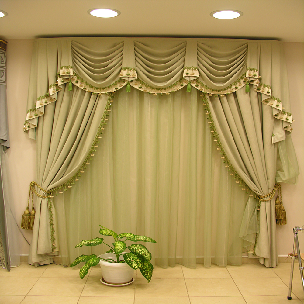 Decorative European valance design sleeping room blackout window curtain drapery