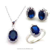 Most Popular Metal Crystal Necklace Pendant ,Ring and Earrings Fashion Dinner Jewelry Set