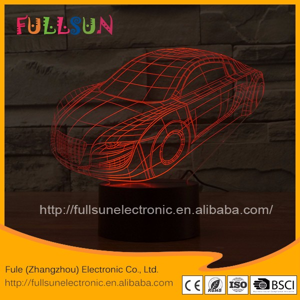 FS- 2907 Online wholesale USB night light 3D illusion LED lamp with car shape