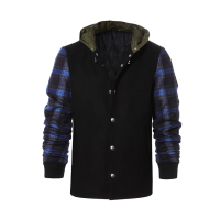 High quality black men woolen varsity jacket
