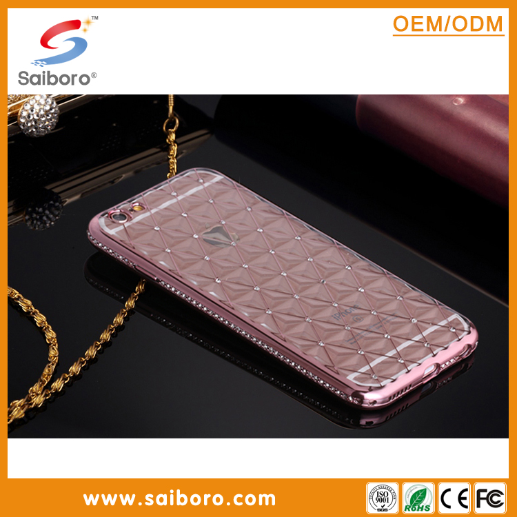 2016 wholesale 3D back cases design soft tpu cases with diamond electronic planting cases for iphone6