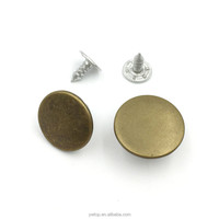 Flat Brass Denim Jeans Button Clothing Accessories DIY 15 / 17mm Round Metal replacement Shank Jean Buttons for Jeans pants