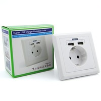 high perfromance Guangdong leishen electric item dual USB charger European wall socket