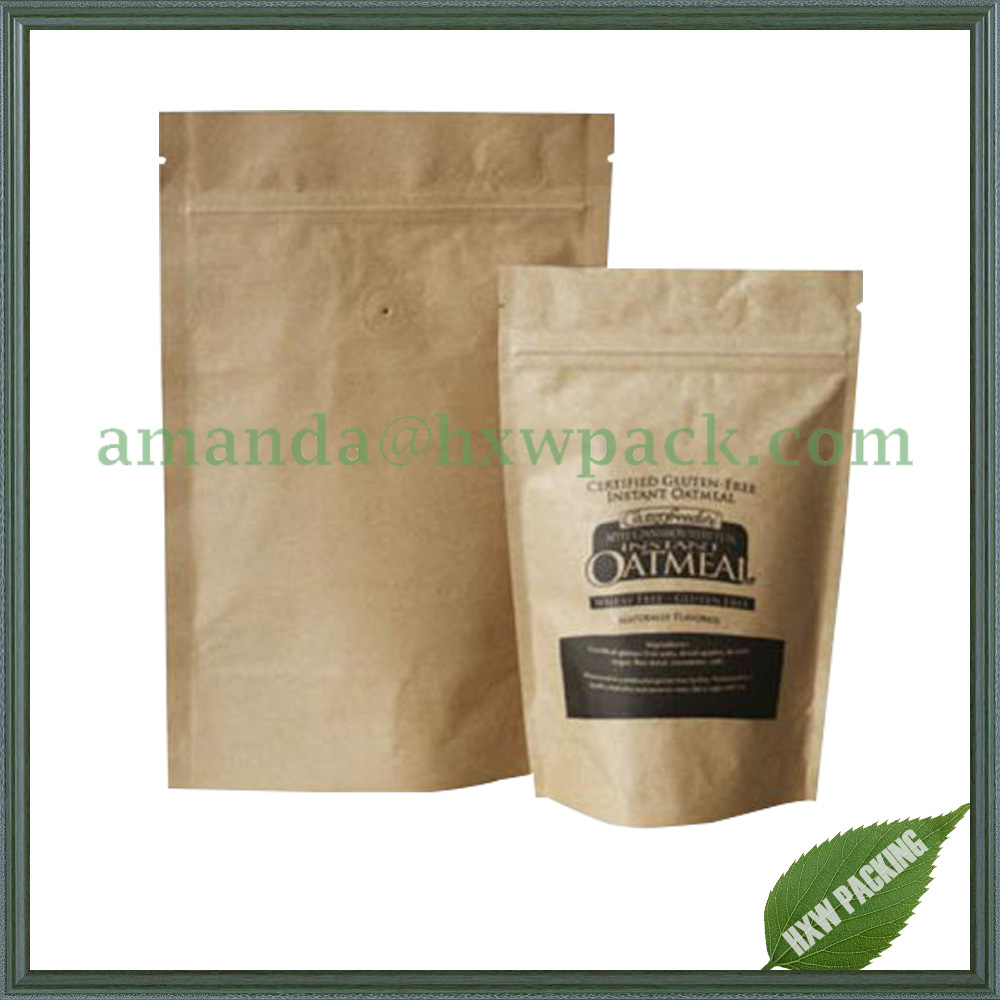 stand up coffee bags kraft paper with valve