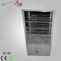 Perpendicular four glass refrigerator showcase