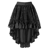 31673 Black Above Knee Length Fishtail Skirt