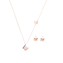 304 Stainless Steel Jewelry Necklace Stud Earring Set Rose Gold Butterfly Animal