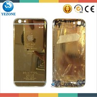 China Wholesale High Quality 24k Gold Phone Case For Iphone 6, 24k Gold Cover For Iphone 6 Back Cover Housing Replacement