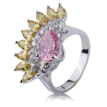 CZ Red Stone White Gold Plated Jewelry Flower Shape Crystal Ring