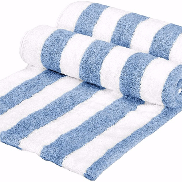 100%pure cotton blue and white cabana stripe beach towel,terry cloth fabric,soft extremely
