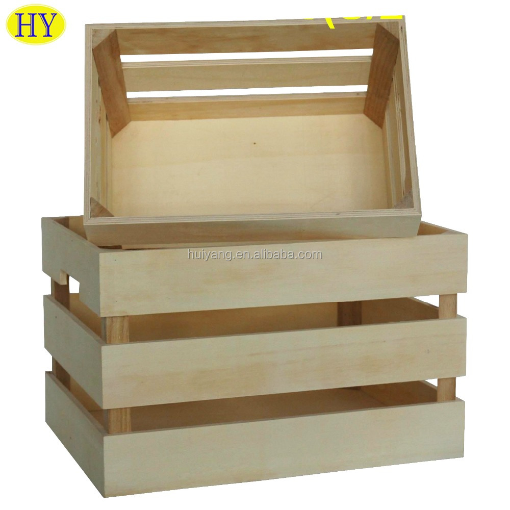 Wholesale Natural Custom Wooden Fruit Vegetable Storage Crate