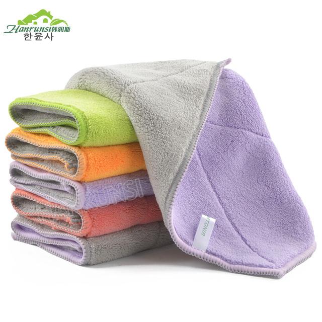 Hanrunsi Multifunction Washcloth Coral Velvet Dust Cloth/Microfiber Terry Cloth