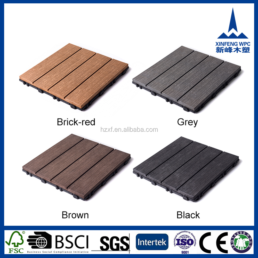 Anti-slip waterproof outdoor heavy duty wood plastic/vinyl floor tiles
