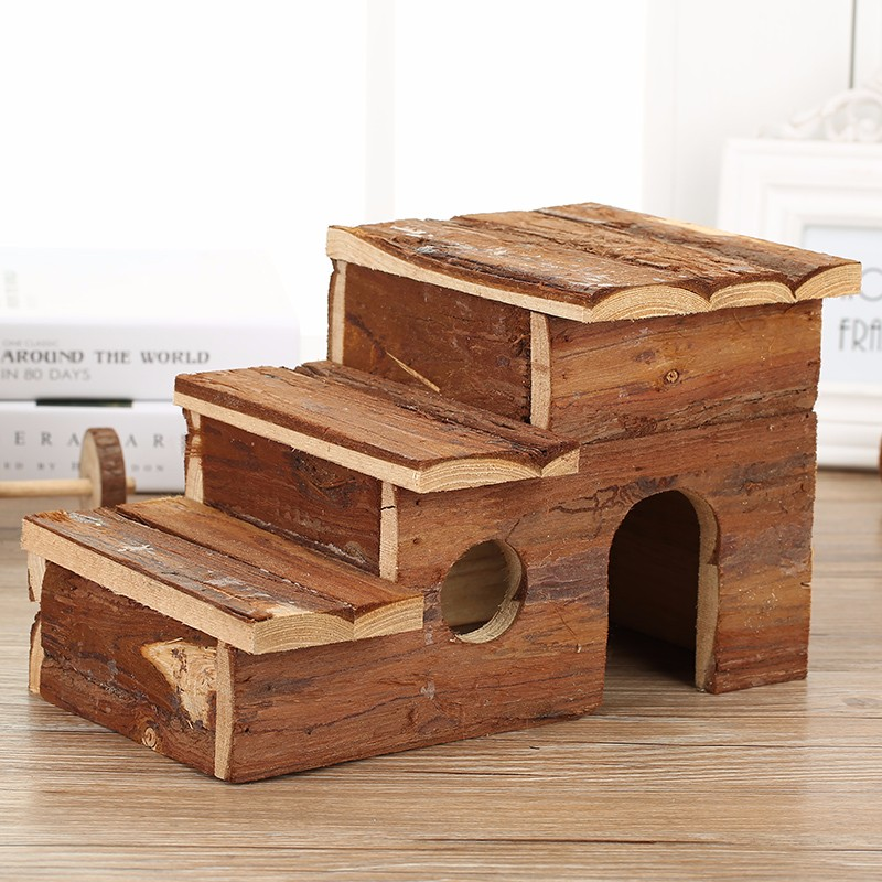 Non-toxic Natural pine wooden hamster cabin cage house hutch for guinea pig rat mice hedgehog cabin