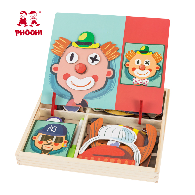 New Hot children educational play game toy wooden magnetic puzzle for kids