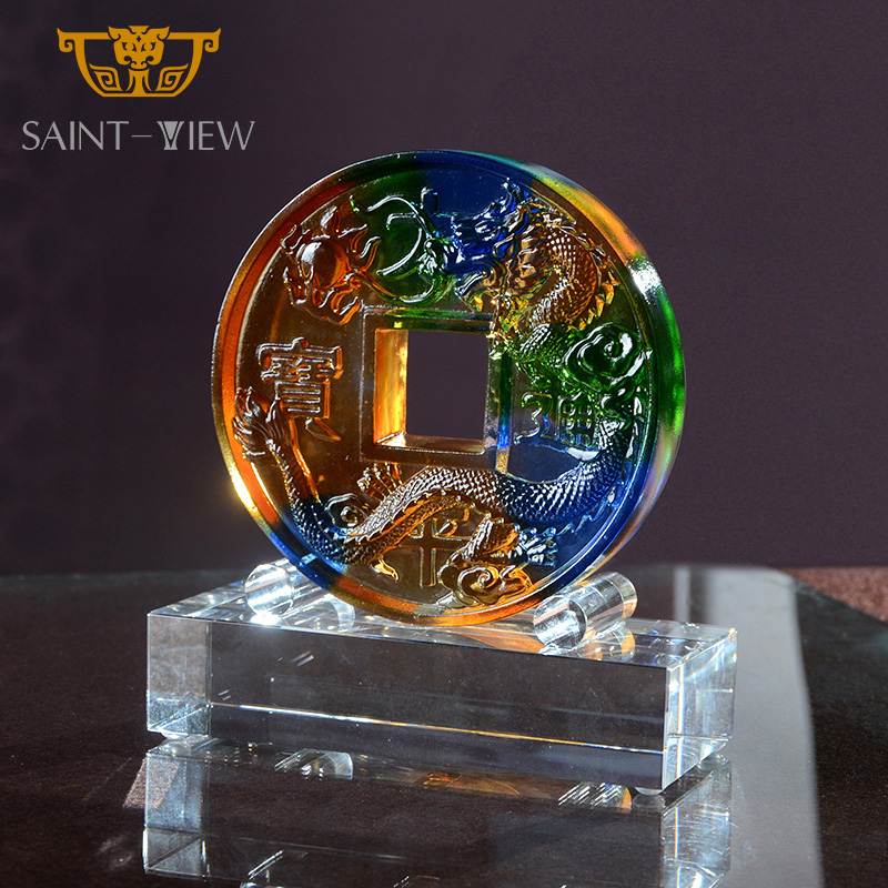 Deluxe Art Glass Crystal Liuli Dragon Ball Coin Bank Insurance Business Gift Decoration