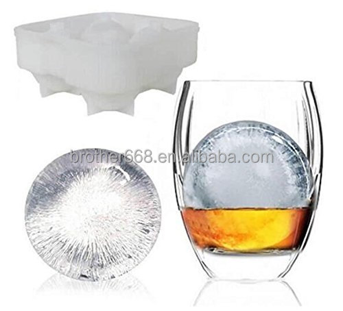 Ice Mold - Perfect 2.5 Inch Ice Cube Balls - Silicone Ice Ball Maker Keeps Drinks Cold For Longer Ideal Gift For Whisky Drinker