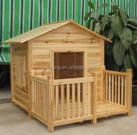 original wood color outdoor dog house with balcony wooden dog bed