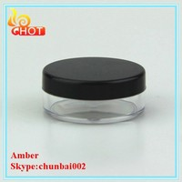 FDA 30G loose powder container and puff , empty round cosmetic container,loose powder container with brush