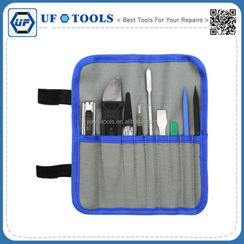 Premium Diverse 9pcs Opening Pry Tool Repair Kit with Non-Abrasive Nylon Spudgers, Anti-Static Tweezers