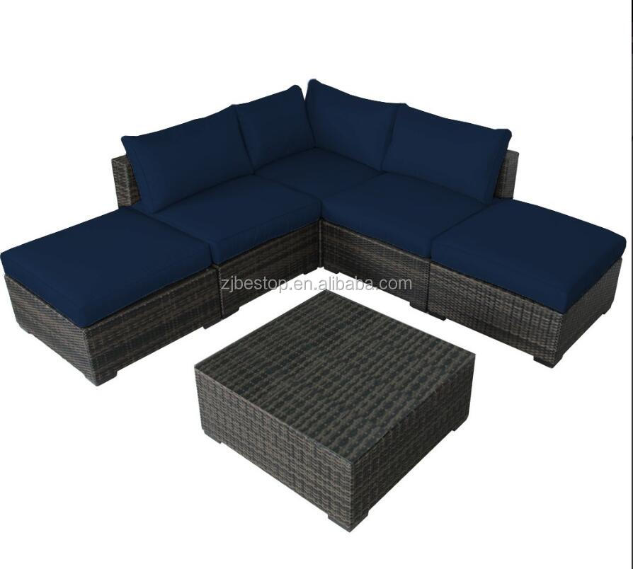 L shape chaise lounge rattan sofa set garden outdoor furniture - Poly rattan outdoor furniture sofa set