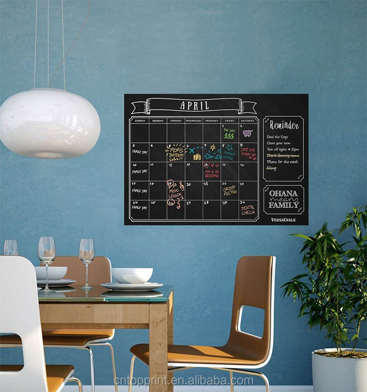 This Month Vinyl Wall Sticker Deco Black Chalkboard Monthly Planner