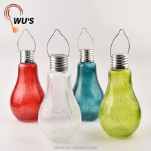 hot sale decoration outdoor crackle glass bulb solar light led hanging bottle garden lights
