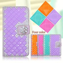Fashion PU Leather Full Cover Crystal Bling Diamond Phone Case For Alcatel One Touch Pop D1 4018