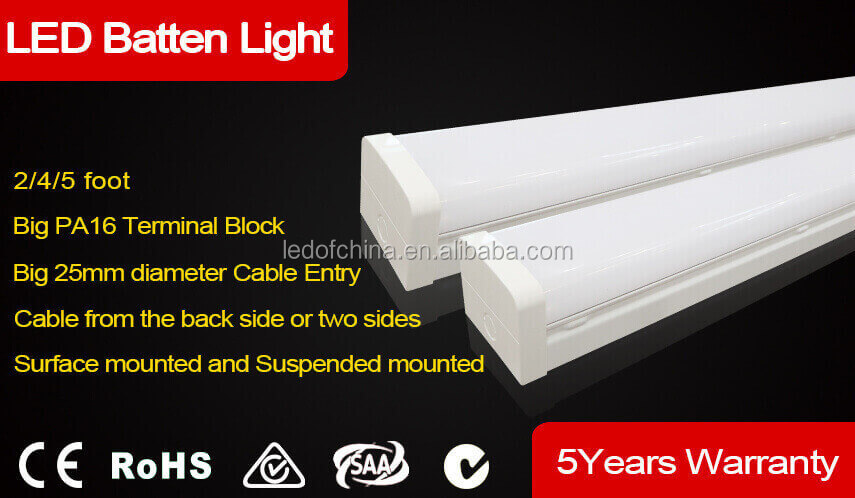 Perfect designed Easy & fast installation1200mm 40W LED Batten Light with back cable entry point