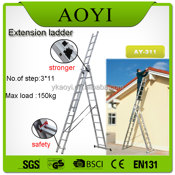 alibaba china manufacturer 3*7 style three section aluminum extension ladder with EN131CE