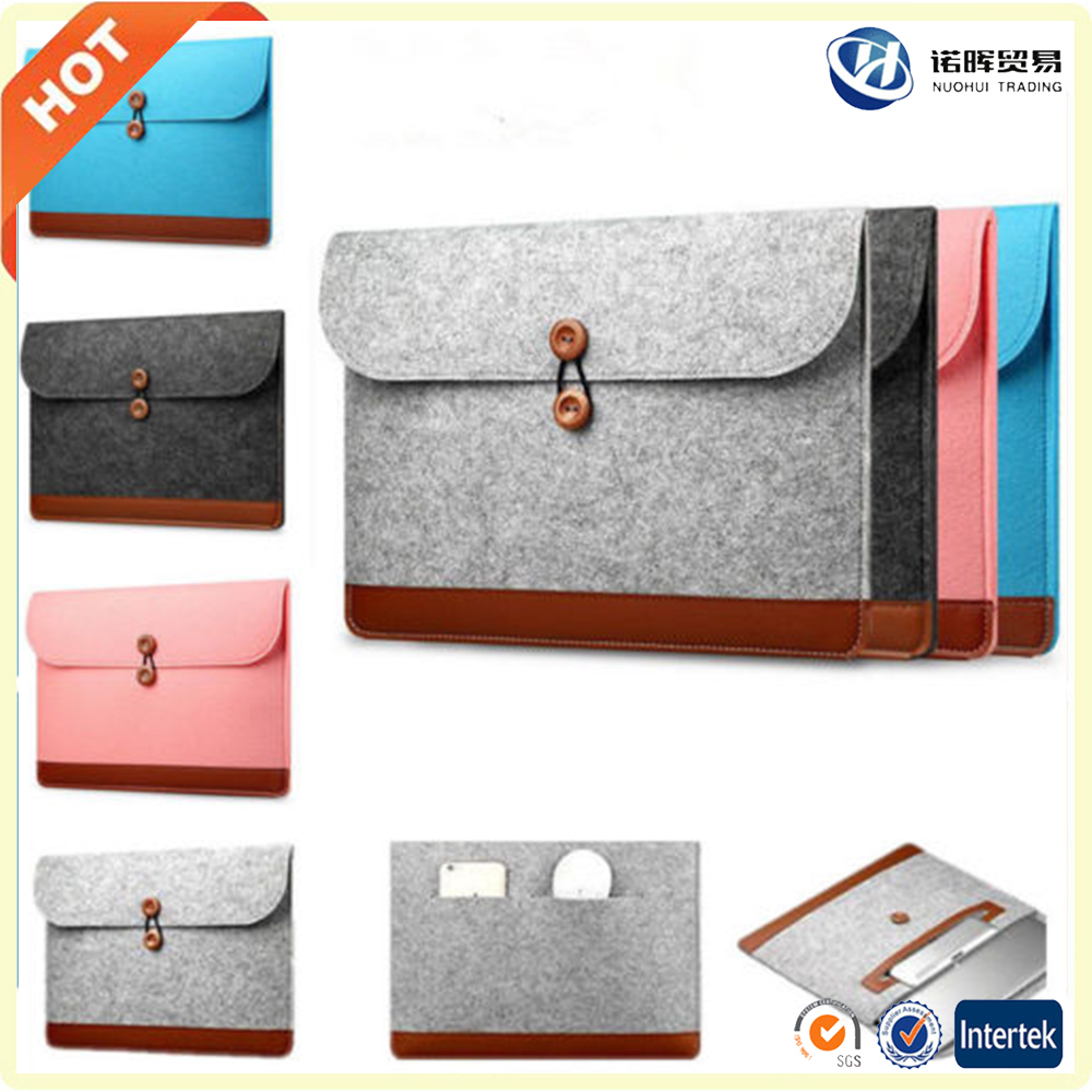 cheap custom logo 12 13 13.3 15.6 17 inch handmade leather felt laptop bag in stock
