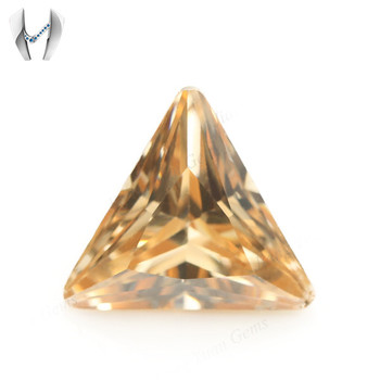 Synthetic Champagne Color Gemstone Triangle Cut Fine Cubic Zirconia