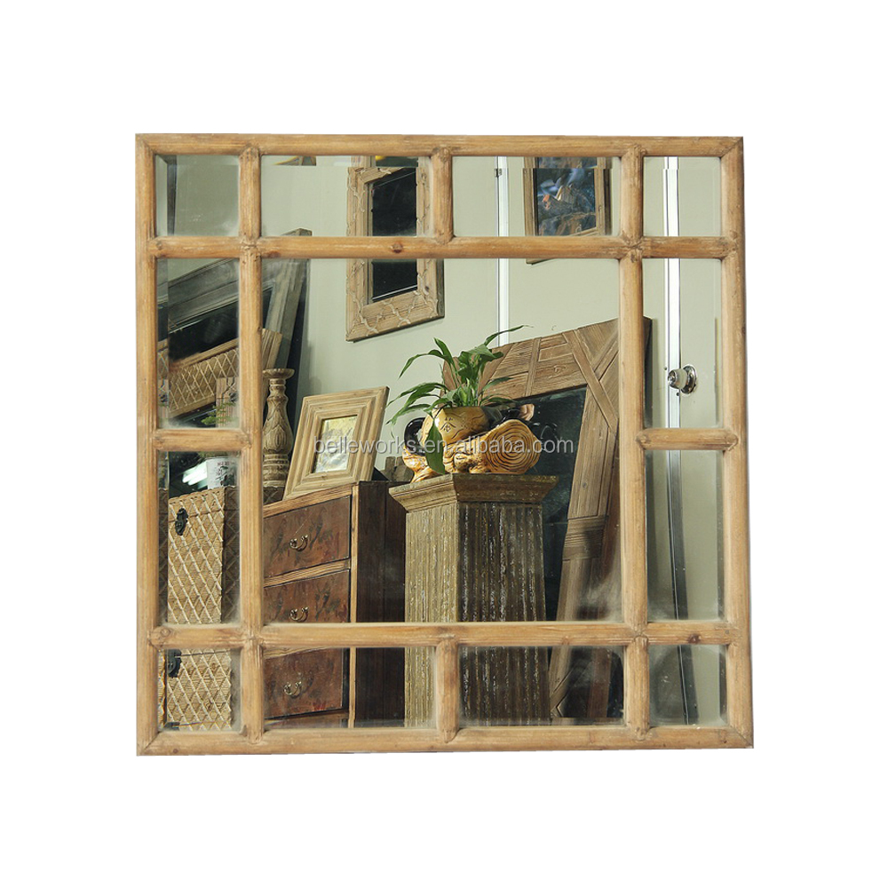 Home Decorative Square Wall Mirror With Wooden Strip Frame
