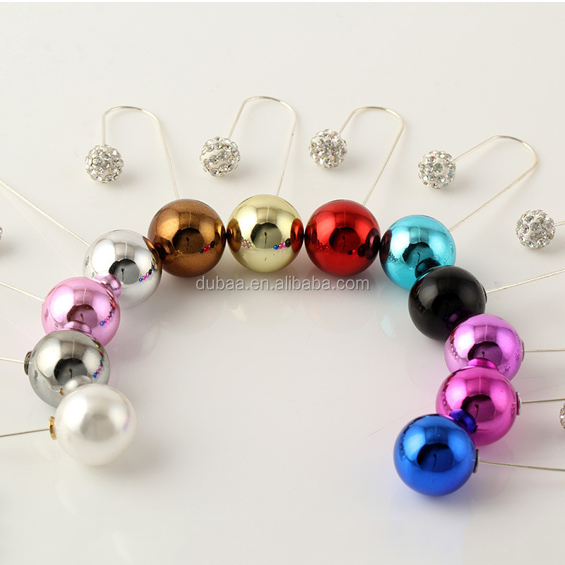 DubaaFashion.com EARRINGS Multi Color Shining Pearl Double Ball Double Sided