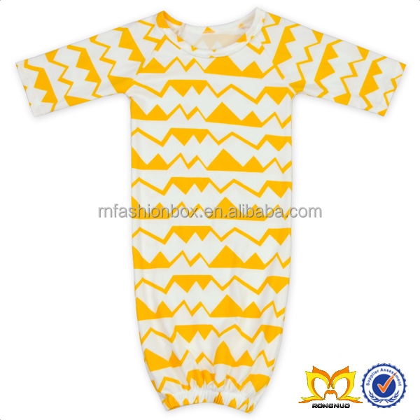 New Design Toddler Print Gown Dresses Infant Yellow Trianguar Wave Clothing Wholesale Beautiful Cute Girls Sleeping Bag.
