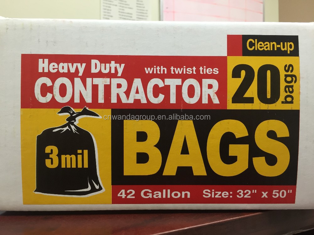 "wd1921 Heavy Duty Contractor Garbage Bags 42 Gallon 3 Mil Heavy Duty Clean Up Bags, 20 Bags 32"" x 50"" Twist Ties"