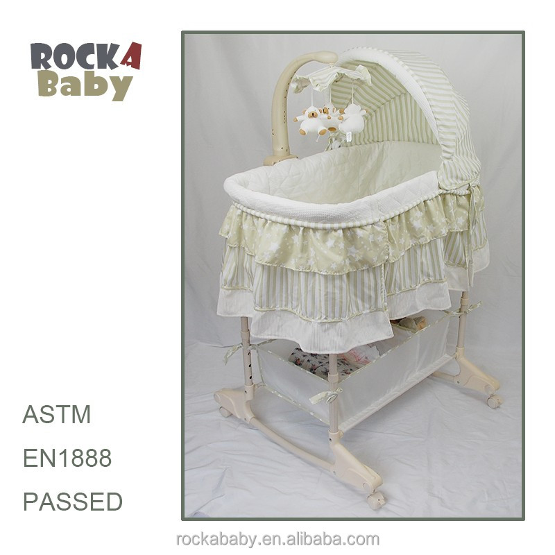 Newborn baby sleeping crib baby bassinet wheels with rocker