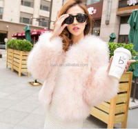 Genuine Ostrich Feather Fur jacket Turkey Fur Coat Fashion Outerwear Multicolors