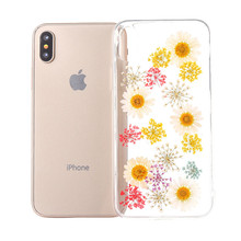 Fancy Design Clear Pressed Natural Dried Flower TPU Cell Phone Case Cover For IPhone 6 7 8 Plus X