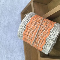 Orange Burlap Ribbon With Lace For Wedding/ Marriage/ Home Decoration