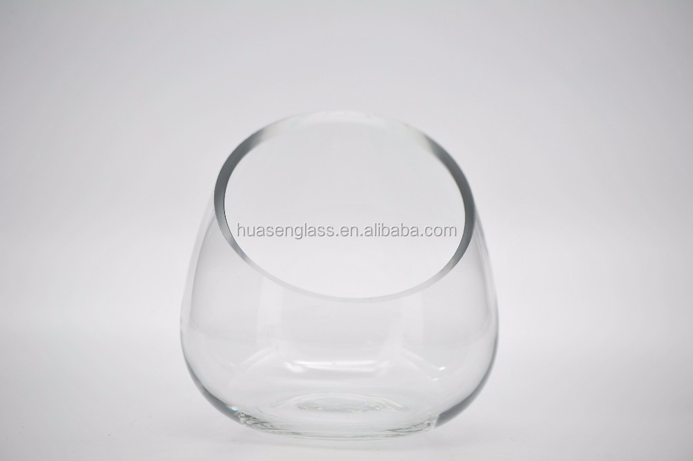 Wholesale clear tranparent Bevel bowl glass fish bowl