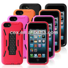 New Arrival Layers Hybrid Robot Hard Plastic Rubberized Silicone Cover With Stand Protective Case for iPhone 5C