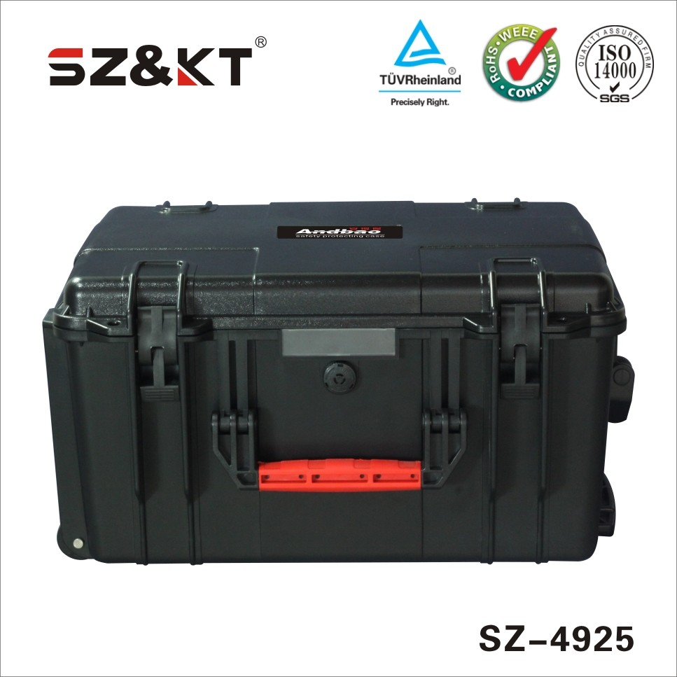 IP67 ABS plastic tool case with wheels and handle