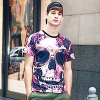 Factory Made Colorful Skull Print Mens T-shirt Cheap Price Wholesale Tops 2016 Fashion Clothes